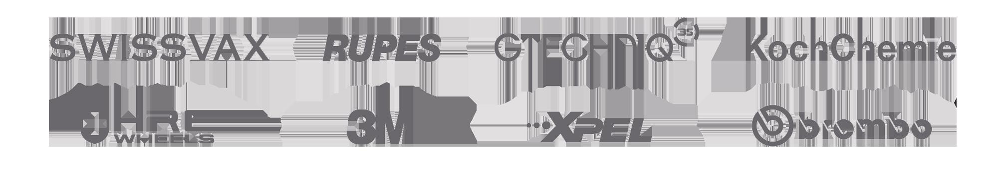 Swissvax, Rupes, Gtechniq, KochChemie, HRE, 3M, Xpel and Brembo